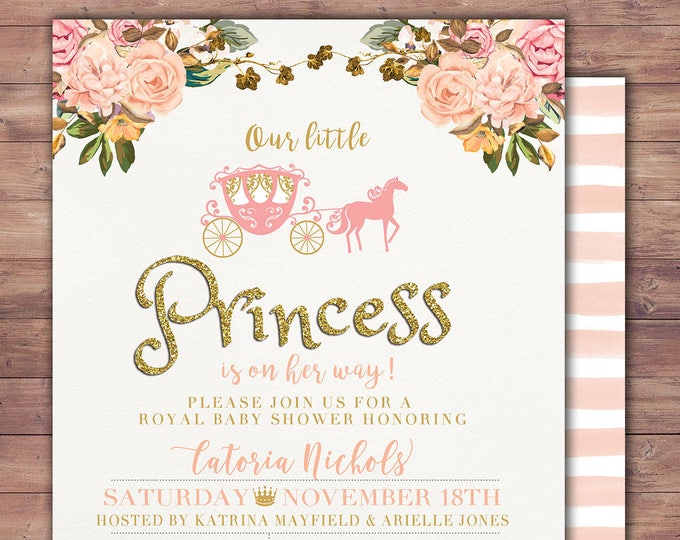 Princess Baby Shower Invitation Princess Carriage Baby Shower Invitation Pink Gold Glitter Princess Baby Shower Invite Carriage Invitation