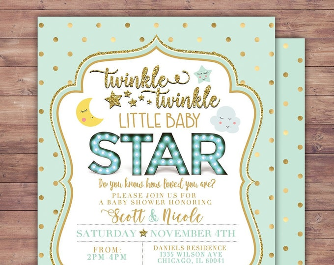 Twinkle twinkle little star baby shower invitation, girl pink and gold, boy blue and gold, glitter, baby sprinkle invite