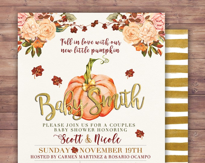 Little Pumpkin Baby Shower Invitation,  baby shower invite, pumpkin baby shower invite, fall baby shower, BOHO, watercolor