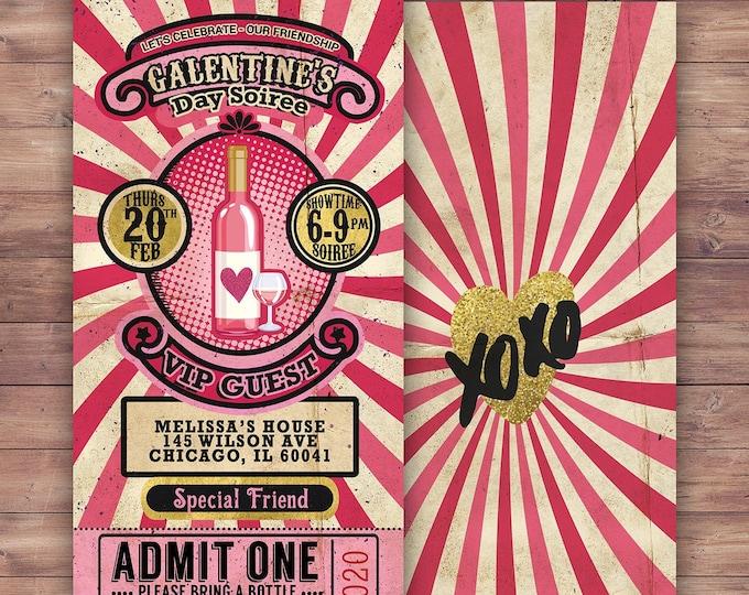Galentine's Day Invite / Retro Invite / Galentines / Valentines Day  / Game night, Game party, Valentine's, Valentine's Day, Wine, Rose'
