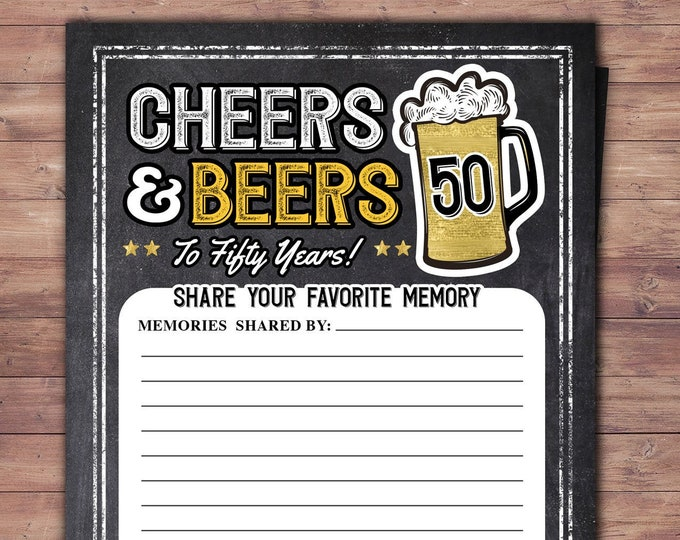 Cheers and Beers, memory card sign, beer, 21st, 30th, 40th, 50th, 60th, 70th, Surprise Birthday Party, retirement party, game card