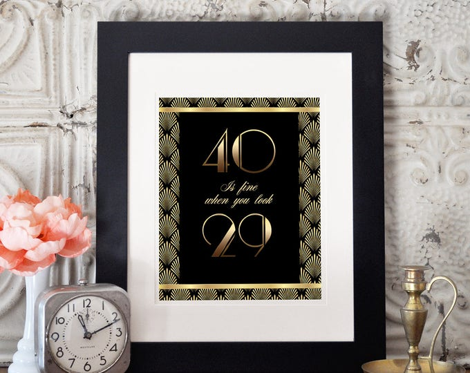 Great Gatsby birthday table signs, Roaring 20's, Hollywood film theme party,  Black and gold glam printable digital decor, glam,