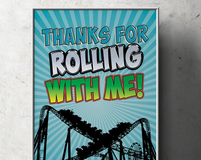 Amusement Park party, Party sign / boy birthday / super hero birthday, rollercoaster, table sign, rollercoaster, printable, digital files
