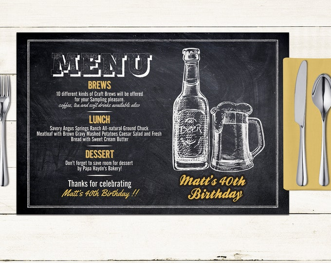 Any Age, Cheers and beers birthday digital placemat design, Party Decor, Party Table Decor, 50th , 40th, 60th, 70th, 80th Digital Files only