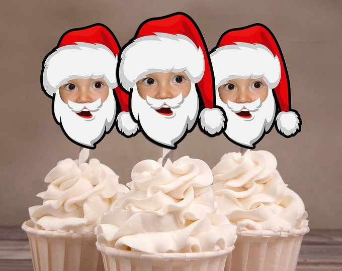 Photo Cupcake Toppers, Christmas birthday, Santa cupcake topper, Santa, Christmas party, Holiday party, Ugly Sweater party, cookie exchange