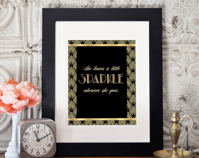 Great Gatsby birthday table signs, Roaring 20's, Hollywood film theme party,  Black and gold glam printable digital, glam