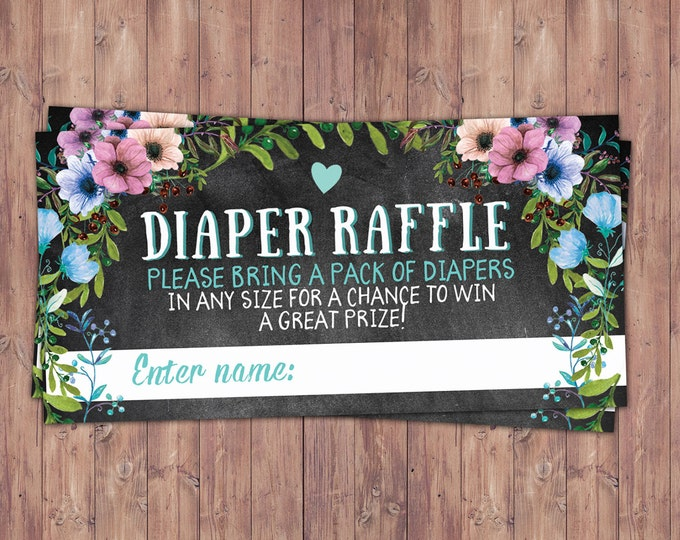 Diaper raffle, Floral, rustic, BOHO, BabyQ chalkboard couples co-ed Baby Shower BBQ invitation - babyq - boy girl- , baby girl shower