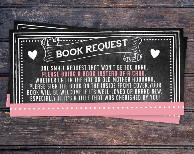 Baby Shower Book Request Ticket Inserts, Chalkboard- Printable Instant Download, boy shower, girl shower, shower game, party game