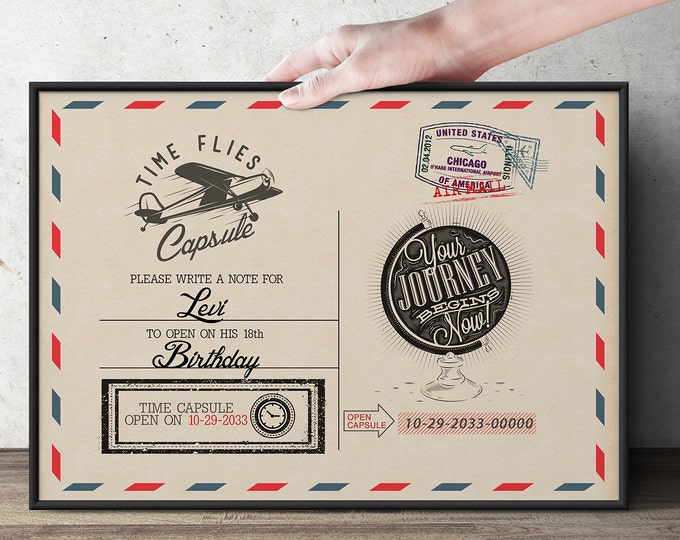 Post card, table sign, Time Capsule, Precious Cargo, Baby Shower, Birthday, vintage airplane, party game