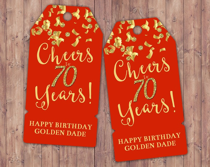 Favor tags, Retirement party, Birthday party,Cheers, 21st, 30th, 40th, 50th, 60th, 70th, confetti and glitter, Gold, Silver