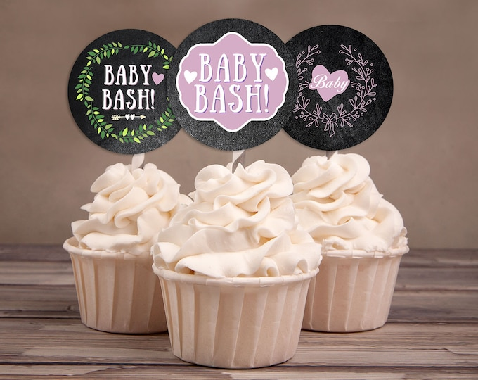 Cupcake Toppers, Floral, rustic, BOHO, BabyQ chalkboard couples co-ed Baby Shower BBQ - baby is brewing, baby girl shower