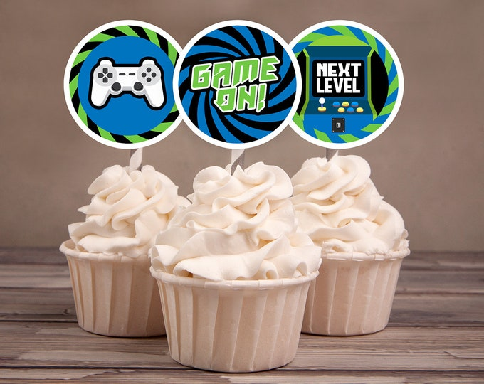 Video Game, Cupcake toppers, Game Truck Party, Video Game Party, Boy Birthday, Game Truck,  Game truck birthday, decor