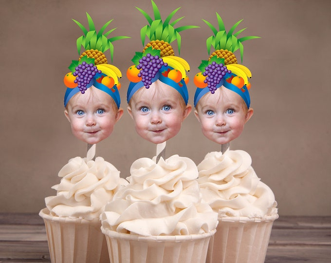Digital File, Photo Cupcake Toppers, fruit toppers, tutti-fruit birthday party, summer birthday, fruit party decor