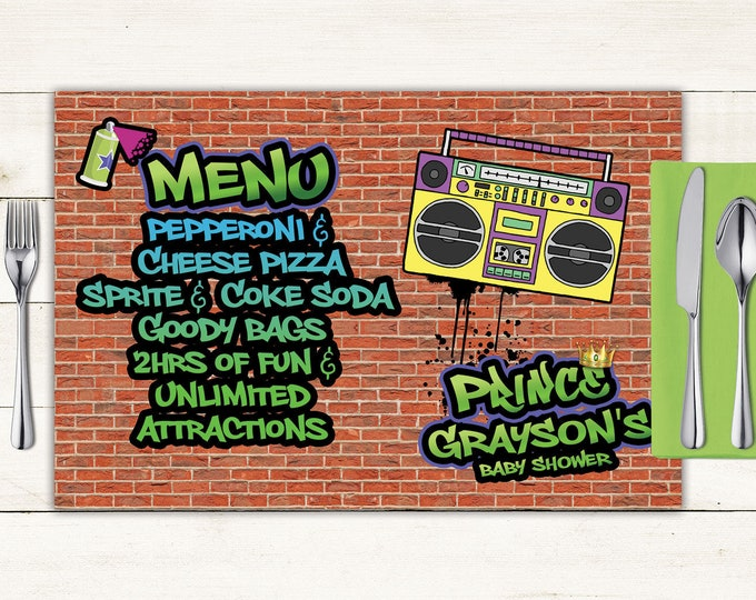 Fresh Prince baby shower digital Placemat design, Menu, Hip Hop party decor, Party Table Decor, graffiti decor, 90s party, printable