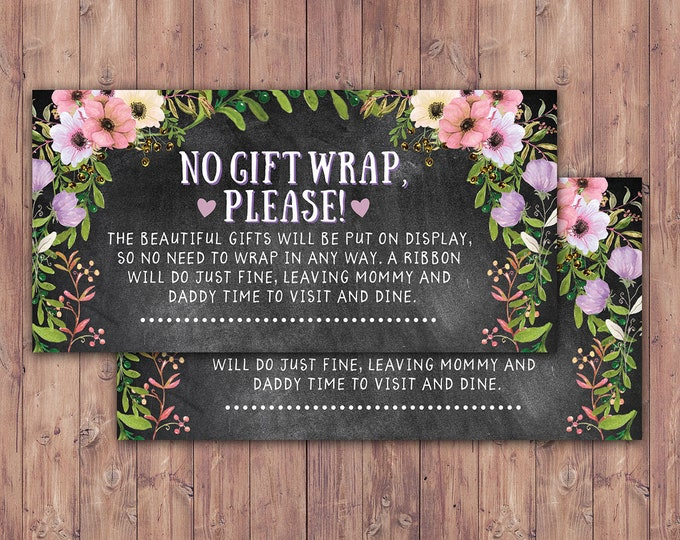 No gift wrap insert request, Floral, rustic, BOHO, BabyQ, chalkboard, Co-ed Baby Shower, BBQ, babyq, baby boy, baby girl, shower game