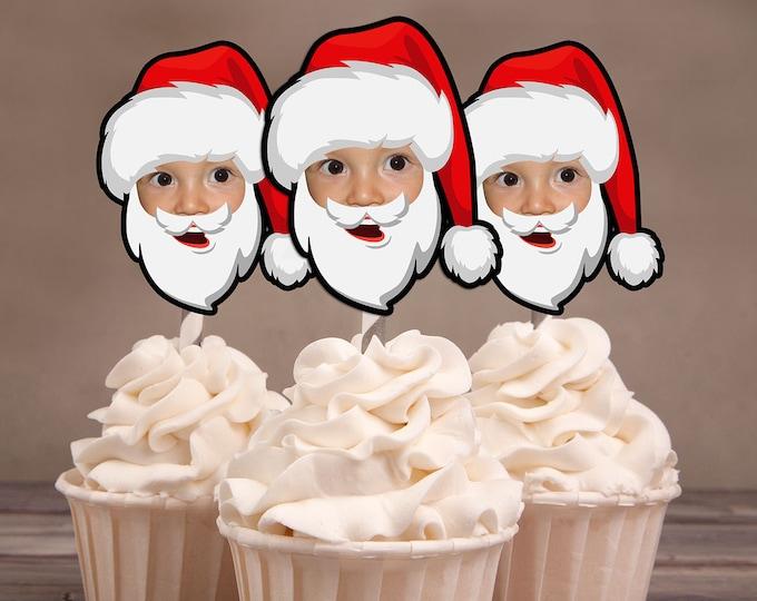 Photo Cupcake Toppers, Christmas birthday, Santa cupcake topper, Christmas party, Ugly sweater party, Santa
