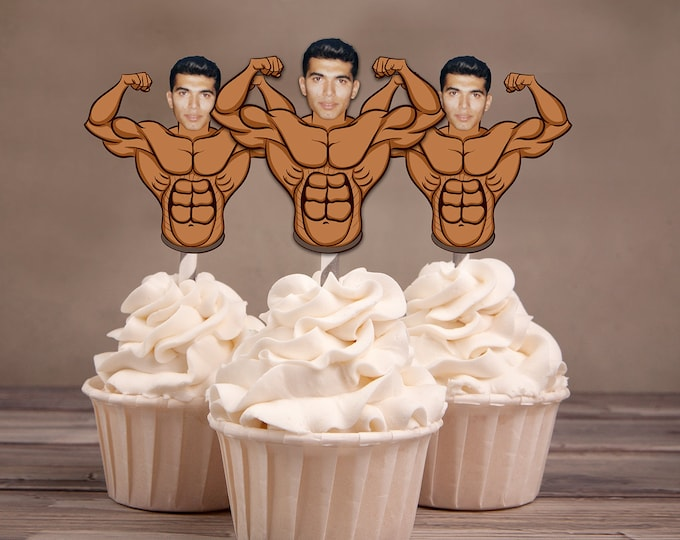 Photo Cupcake Toppers, Men's birthday, Bodybuilder, bachelor party, milestone birthday, men's birthday decor, bachelorette party,