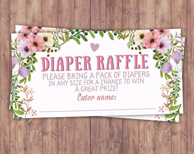 Diaper raffle insert, Floral, rustic, BOHO, BabyQ, chalkboard, Co-ed Baby Shower, BBQ, Baby-Q, baby boy, baby girl, shower game