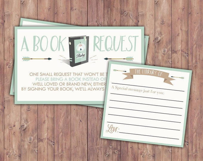 POW WOW Baby Shower book request ticket, Teepee Baby shower, arrows, baby shower,boy,BOHO, Tribal, shower game, book insert