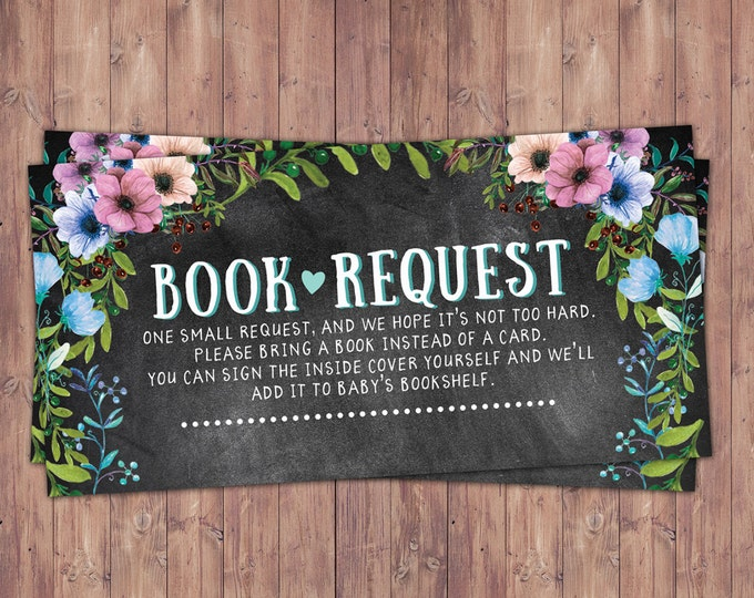 Book request insert, Floral, rustic, BOHO, BabyQ, chalkboard, Co-ed Baby Shower, BBQ, Baby-Q, baby boy, baby girl, shower game