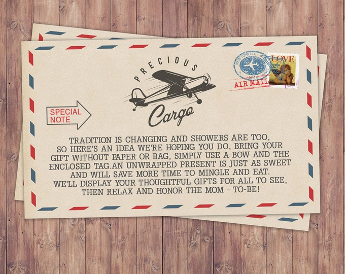 Precious Cargo,  Oh The Places You Will Go Baby Shower, vintage airplane, airplane, gift wrap note, shower insert, travel theme