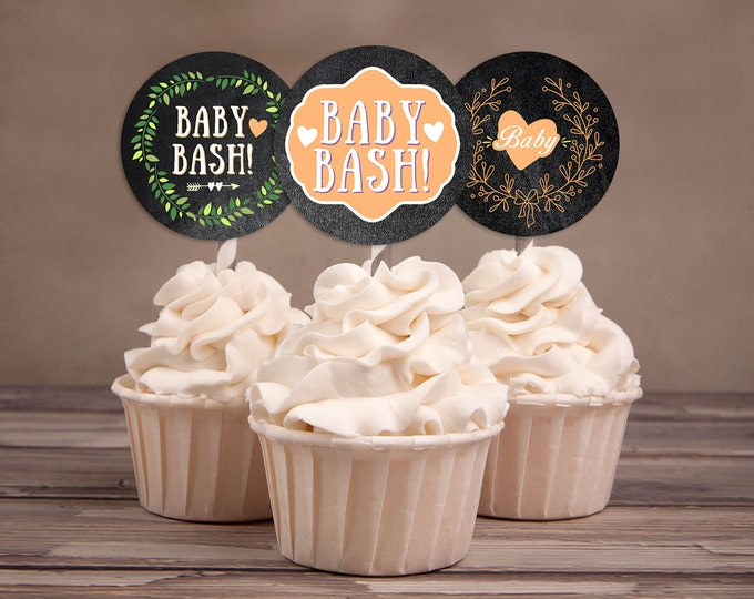 Cupcake Toppers, Floral, rustic, BOHO, BabyQ chalkboard couples co-ed Baby Shower BBQ, baby is brewing, baby girl shower