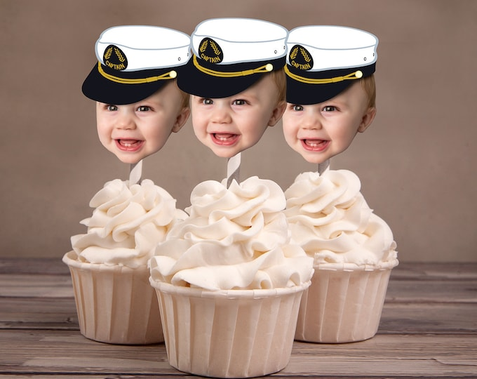 Photo Cupcake Toppers (Birthday Hat Design) Digital File - nautical, sailor, captain, boat, sailboat, fishing, Ahoy