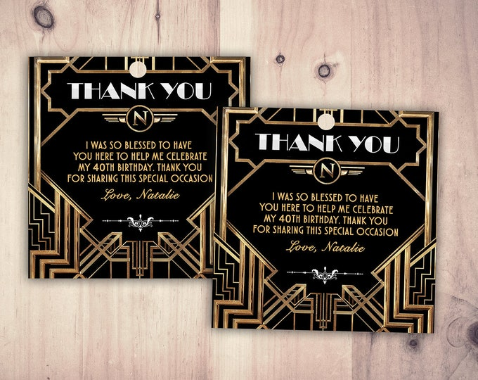 Great Gatsby birthday tag, Roaring 20's, Hollywood film theme party invite. Black and gold glam printable, glam, favor tag