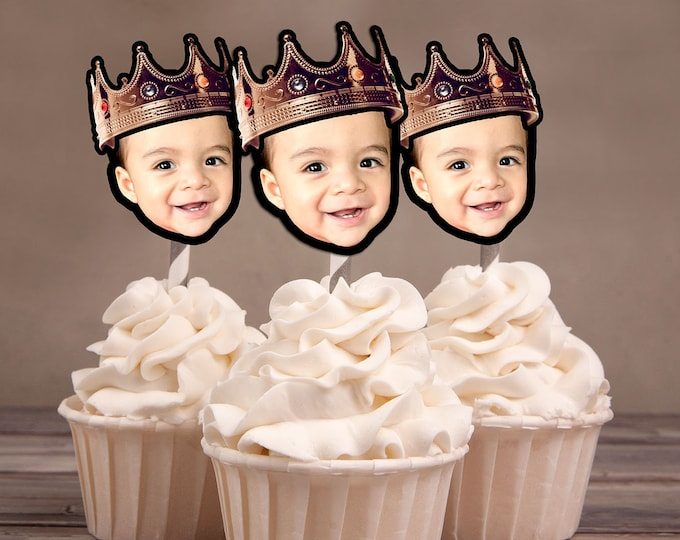 Photo Cupcake Toppers Digital File - Hip hop  birthday, Crown topper, boy birthday, Fresh Prince, Hip hop party, 2legit, 90s party, King