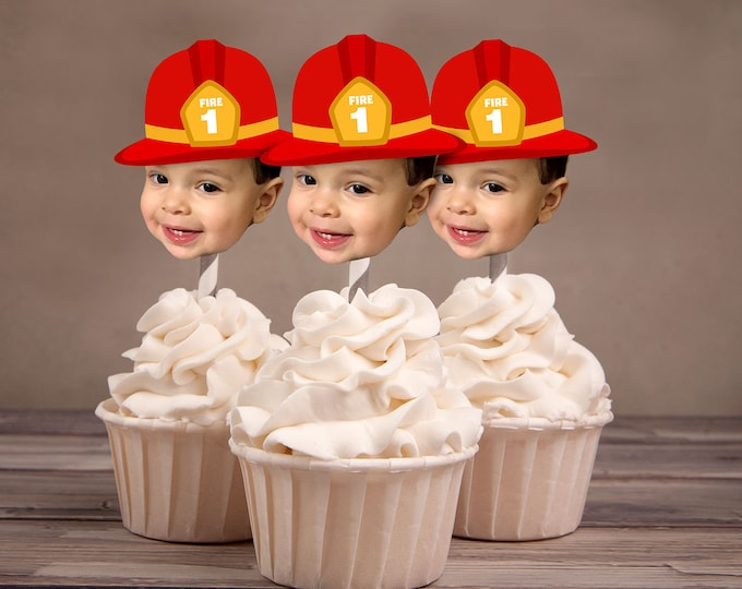 Photo Cupcake Toppers, Digital File - birthday, fireman, fireman party, firetruck, fire truck, first birthday, 1st, engine, fire engine,