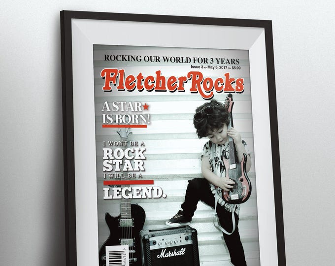 Rock Star magazine theme birthday poster, boy birthday, rockstar, baby shower, rock star party, rock n roll, pop star, hip hop, Digital file