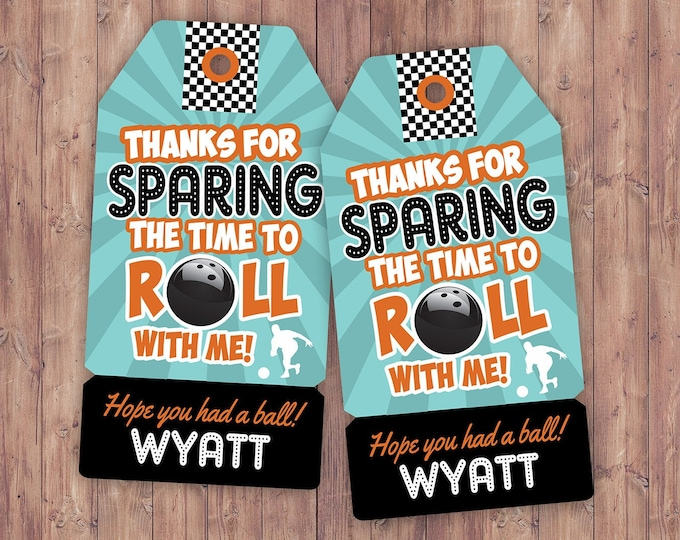 Bowling favor tags, Bowling Birthday Party decor, retro bowling, bowling, Strike, party favor