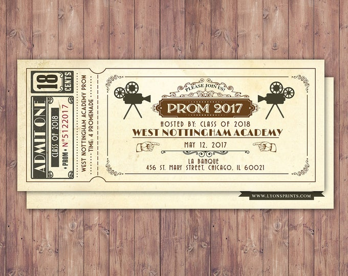 PROM, Art DecoVintage Retro Save the Date Ticket Announcement, wedding invitation, wedding shower, old Hollywood , Cinema,