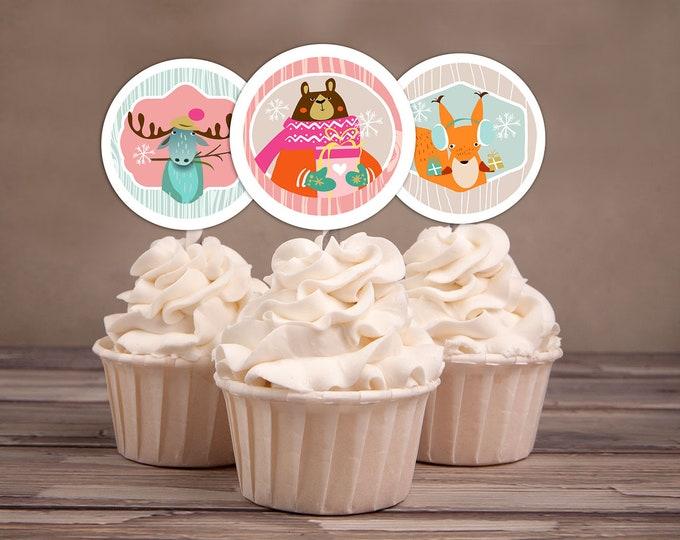 Woodland Cupcake Toppers Lumberjack birthday //favor tags // Lumberjack // Rustic // Bear , animals// birthday decor, winter onederland