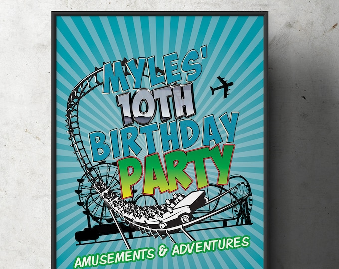 Amusement Park party, Party sign / boy birthday /  super hero birthday, rollercoaster, table sign, printable, digital files