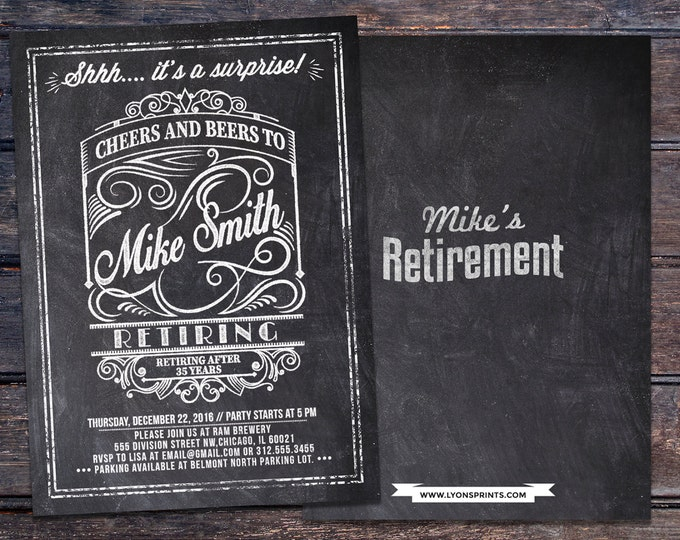 Retirement, Cheers and Beers invitation, beer, 21st, 30th, 40th, 50th, 60th, 70th, Surprise Birthday Party Invitation,, invite,co-worker