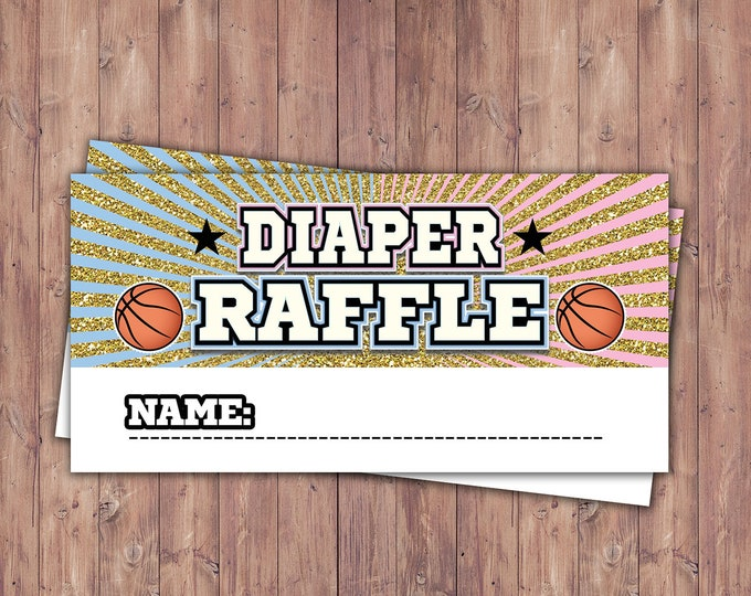 Basketball insert, Baby Shower, All Star shower, gender reveal, sports, baby boy, baby girl,  diaper raffle, shower game, Digital files