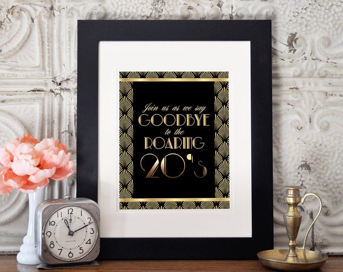 Great Gatsby birthday table signs, Roaring 20's, Hollywood film theme party decor,  Black and gold glam printable digital, glam,