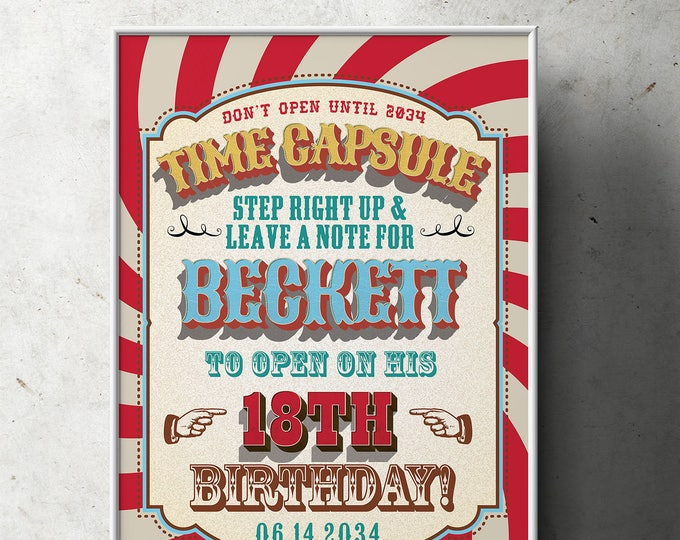 Time Capsule, Carnival Party - Circus Party - Favor Table Sign, Customized Printable - Vintage circus- Vintage Carnival - First birthday