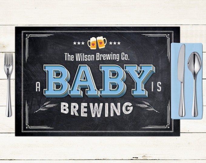 Baby is brewing digital Placemat design, Menu, Baby shower Party Decor, Party Table Decor, BabyQ, Baby shower, rustic, Digital Files only