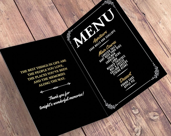 Any Age Birthday digital menu, Milestone Birthday Party Decor, Party Table Decor, Aged to perfection, Cheers and beers