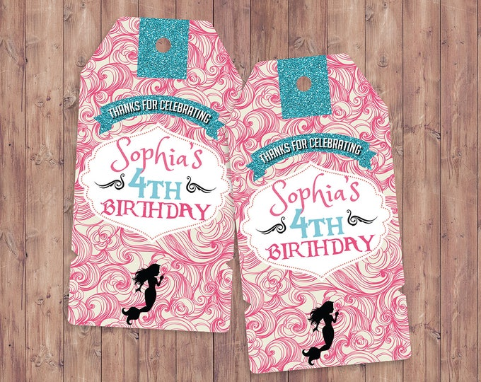Mermaid, Pirate and Princess Party favor tags, Pirate and Princess Birthday decor, under the sea ,Twins birthday, party favor