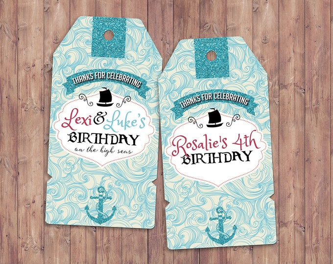 Pirate and Princess Party favor tags, Pirate and Princess Birthday Invitation, Princess and Pirate invitation ,Twins birthday, party favor