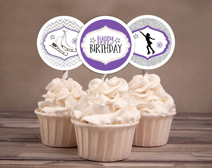 Ice Skating, cupcake toppers, ice skate, birthday , Chevron, winter, party decor, figure skating, ice skate printables