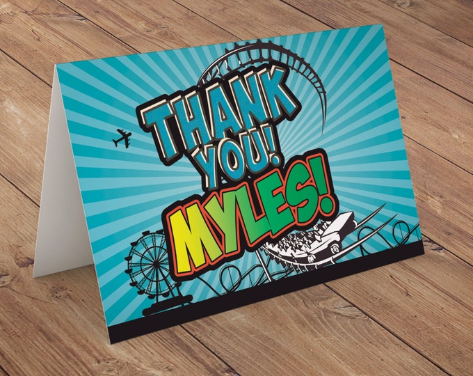 Thank you card, Amusement Park party, banner, bunting, pendant /  super hero birthday, rollercoaster, party decor, party sign