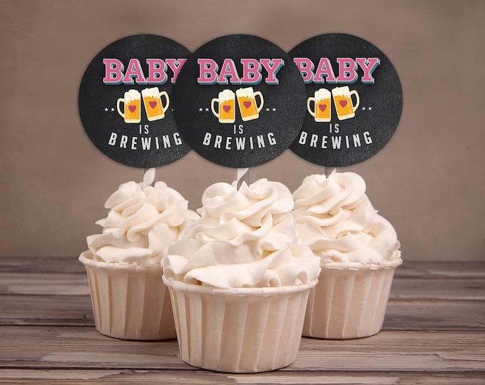 Baby is brewing, cupcake toppers Coed baby shower, Beer baby shower, couples baby shower BBQ, retro, beer tasting, printable files