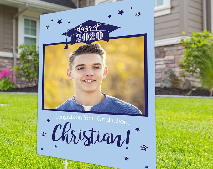 Class of 2020 Graduation Photo Yard Sign - High School Senior Welcome Sign - Welcome Sign Congrats, DIGITAL FILE ONLY, Graduation Yard Sign