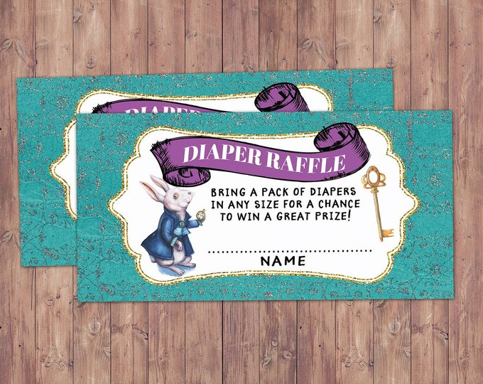Diaper raffle, diaper request, Mad Hatter Tea Party, Alice in Wonderland, baby shower,co-ed baby shower shower game