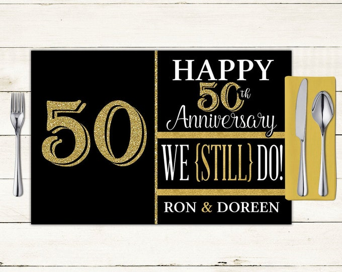 Anniversary digital Placemat design, Party Decor, Party Table Decor, 50th Anniversary Gift, anniversary party, Digital Files only