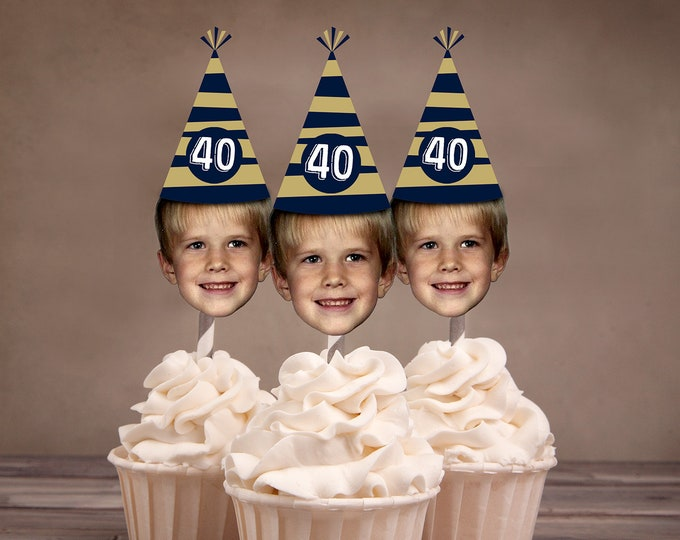 Digital File - Photo Cupcake Toppers (Birthday Hat Design)  Color Coordinated with your Party Scheme, birthday decor, milestone birthday